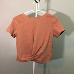 Tops - Brown crop top with tie in the front